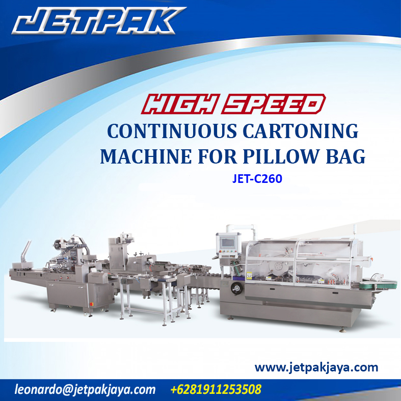 HIGH SPEED CONTINUOUS CARTONING MACHINE FOR PILLOW BAG (JET-C260)